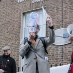 Peter Sutherland reads Proclamaiton of Oligarchy outside EU Offices Dublin